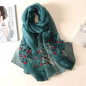 LADY WOMEN QUALITY SOFT SILK SCARF SCARVES PASHMINE LARGE SIZE FLORAL PATTERN 1