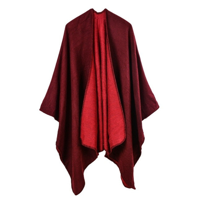 2018 brand women poncho and capes cashmere knit Thicken warm winter scarf solid color oversized Blanket lady shawl Coat-geekbuyig