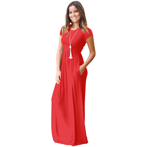 Casual Long Summer Dresses For Women 2018 Short Sleeve Pocket Floor Length Maxi Dress Women O Neck Solid Dress Female Vestidos-geekbuyig