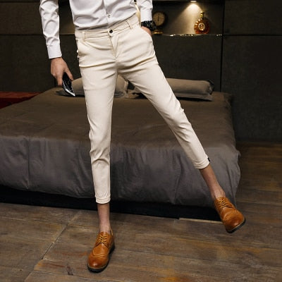 Fashion 2018 Summer Men Pants Slim Fit Casual Solid Business Work Pant Men Ankle Length Thin Mens Dress Trousers 3Colors 28-33-geekbuyig