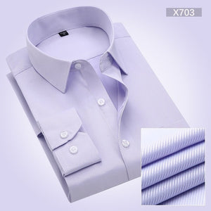 DRESSERVICE Large Size S-5XL 6XL 7XL 8XL 2017 Summer Twill High-grade Tooling Men Long-sleeved Shirt Solid Color White Blue Slim-geekbuyig