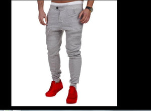 Man pure color elasticity exercise loose relaxation Long Pants comfort cotton pants-geekbuyig