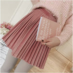 Spring Autumn New 2018 Women High Waist Mini Skirt Ladies Slim Pleated Gold Velvet Skirts Woman Loose Fashion A -Line Skirt-geekbuyig