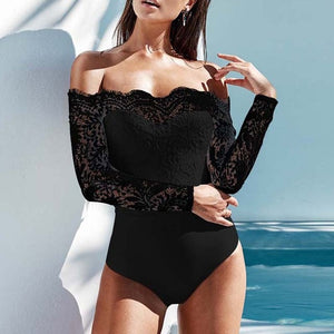 Celmia 2018 Elegant Off Shoulder Lace Bodysuits Solid Body Top Romper 2018 Women Jumpsuits Long Sleeve Slim Sexy White Playsuit-geekbuyig