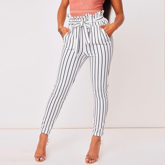 White Striped Sexy Skinny Pants High Street Patchwork Pockets Elastic Waist Sashes Trousers-geekbuyig