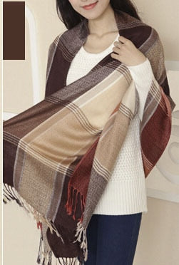 2018 Hot Women Scarf Winter Fashion Female Scarf Stole Brand Famous Plaid Thick Shawls And Blanket Scarf For Women 50-geekbuyig