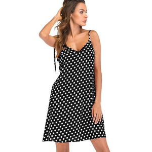 XXXL 4XL 5XL Plus Size Dress Female Polka Dot Print V Neck Sleeveless Dress Tie Spaghetti Strap Backless Mini Casual Sundress-geekbuyig