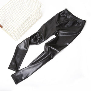 2017 Black Faux Leather Pencil Pants Pantalone Winter Warm Women Pants Dropshipping Female PU Leather Velvet Pencil Pants Women-geekbuyig