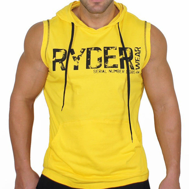 KORKSLORES Men Cotton Hoodie Sweatshirts fitness clothes bodybuilding tank top men Sleeveless Tees Shirt Casual golds vest-geekbuyig