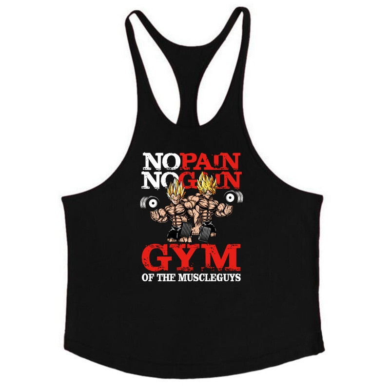 Dragon ball tank top men Fitness Vest Gyms Clothing Singlet Y Back Stringer Canotta Bodybuilding Sleeveless shirt Muscle Tanktop-geekbuyig