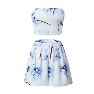 Elegant Off Shoulder Sexy 2 Piece Jumpsuits Chic Blue Floral Print Summer Romper Casual Beach Two-piece White Short Overalls-geekbuyig