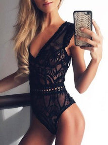 Summer 2018 Lace Bodysuits Sleeveless V-neck Slim Sexy Bodysuit Clubwear Body Top Black White Overalls Women Jumpsuit Sexy GV682-geekbuyig