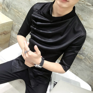 2018 Summer Gothic Shirt Ruffle Designer Collar Shirt Black And White Korean Men Fashion Clothing Prom Party Club Even Shirts-geekbuyig