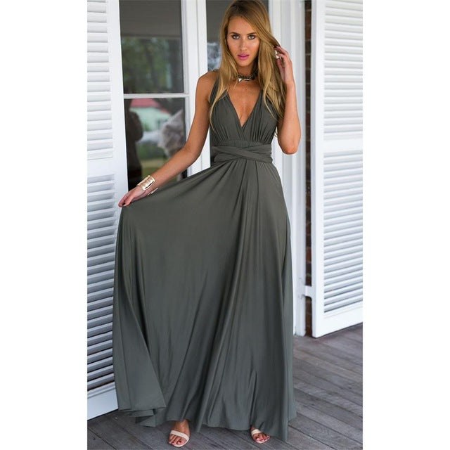 New Summer Sexy Women Maxi Dress Red Beach Long Dress Multiway Bridesmaids Convertible Wrap Party Dresses Robe Longue Femme 2018-geekbuyig
