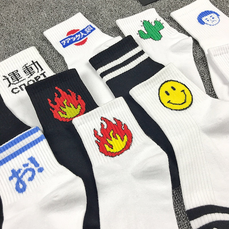 Adult Size Short Socks Blaze Flame Cacti Cactus Pistol Korea Okay Gun Revolver Youth Shark Fire Human Rocket Space Vehicle Mix-geekbuyig