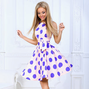 2018 Plus Size Women Sweet Dress Polka Dot Short Sleeve O Neck Dresses Retro Vintage Party Dress Vestidos Robe Femme-geekbuyig