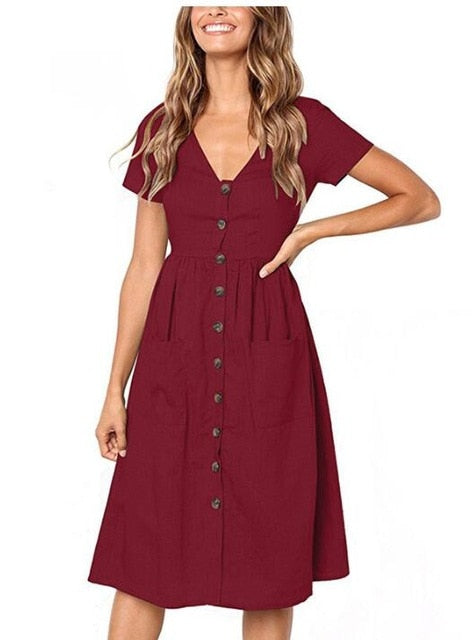 2018 Women's Fashion Summer Short Sleeve V Neck Button Down Swing Midi Dress with Pockets Beach Summer Dress-geekbuyig