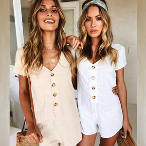 2018 Summer Vintage Playsuits Women Bodysuits Casual Short Sleeve Deep V Neck Romper Ladies Fashion Body Suit Femme Overalls Top-geekbuyig