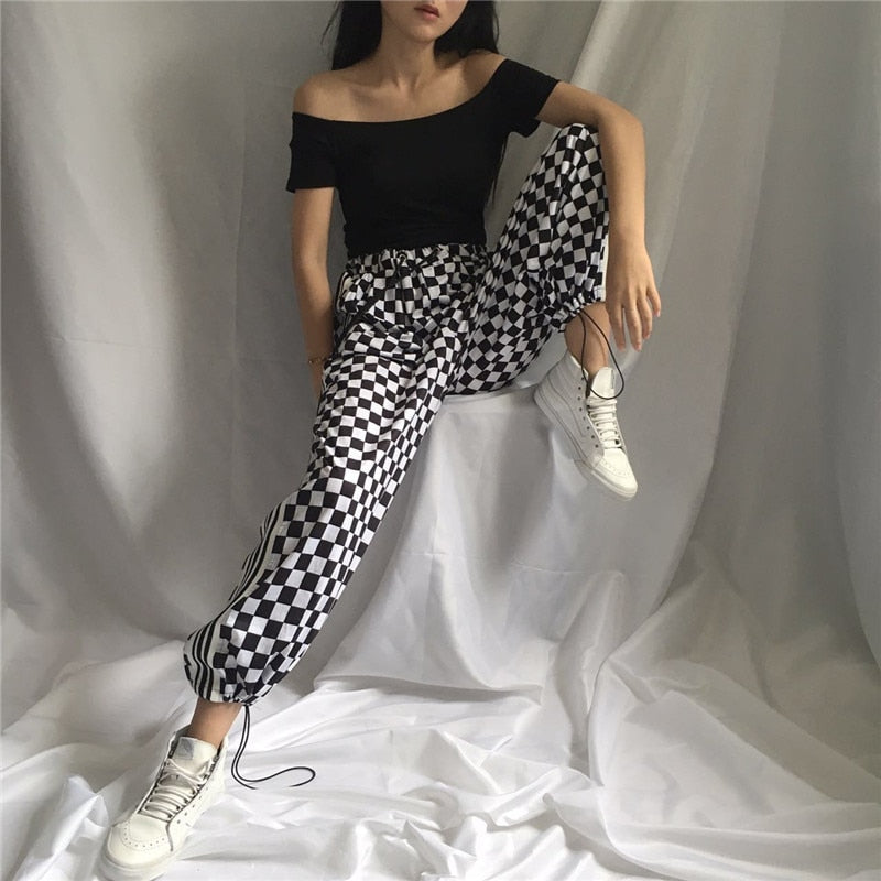2018 Women'S Harajuku Small Square Tie With Stripes On Both Sides Of Vertical Stripes Wide Leg Pants Casual Button For Women-geekbuyig