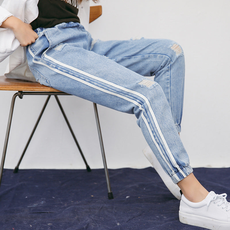 2018 Spring Summer Holes Fashion Women Jeans Trousers Ankle Length Pants High Waist Pockets Harem Stripe Vintage Pants B7031308H-geekbuyig