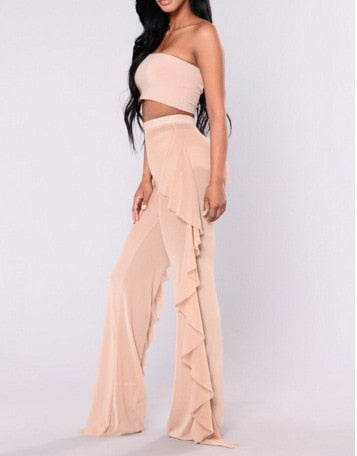 New Sexy Ruffle Women Beach Mesh Pants Sheer Wide Leg Pants Transparent See through Sea Holiday Cover Up Bikini Trouser Pantalon-geekbuyig