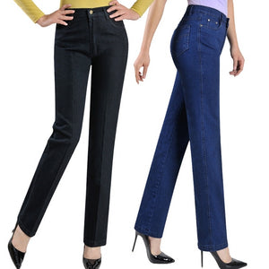 2018 New arrival pants straight jeans women plus size 42 43 women's denim trousers-geekbuyig