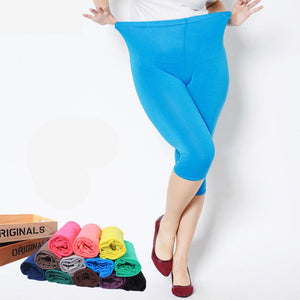 2018 Summer style High Quality big elastic Plus size 7XL Big Size Candy Color Modal Mid-Calf leggings women pants-geekbuyig