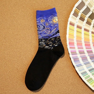 Panting Van Gogh Couples Cotton Harajuku Socks Funny Famous Panting Ankle Art Socks For Men Colorful Hispter Creative Funny Sox-geekbuyig