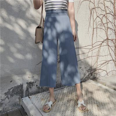 2018 New Summer Fashion Lady Wide Leg Chiffon Pants High Waist Long Loose Palazzo Pants Culottes Trousers Women Pants Pantalones-geekbuyig