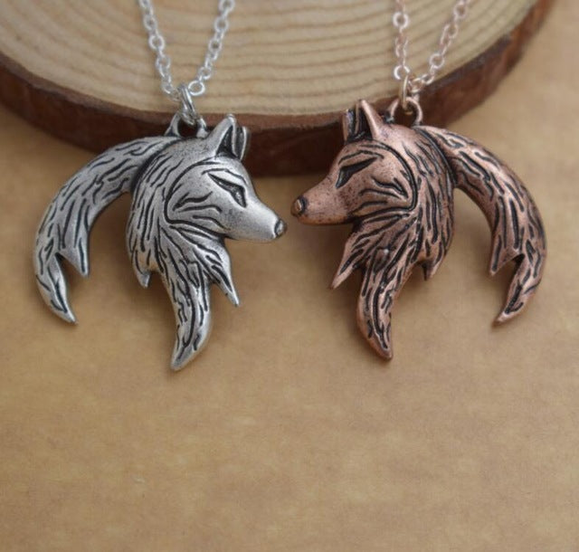 SanLan Wolf Yin Yang Necklace His and Hers Interlocking Couple wolf necklace gift-geekbuyig