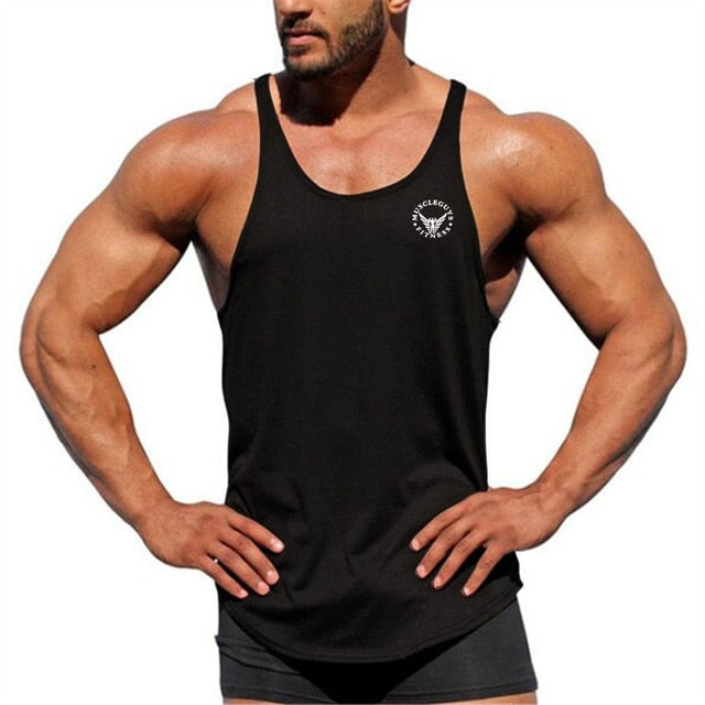 Muscleguys Summer Gyms Tank Top Men Bodybuilding Clothing Fitness Men Stringer Sleeveless Singlets Male Cotton Masculina-geekbuyig