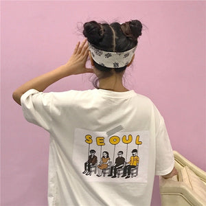 2018 Summer Kpop Harajuku Summer T shirt Cotton Short Sleeve Pocket Seoul Printing On The Back Top BF Style Ulzzang Girls Tee-geekbuyig