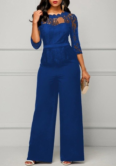 New Casual Elegant Lace Women Jumpsuits Wide Leg Long Sleeve Hollow Out Slim Work Office Rompers Macacao Feminino-geekbuyig