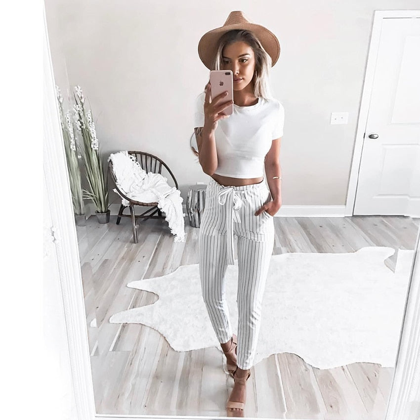 White&Blue Vertical Striped Skinny Pants Women Elastic Waist Pocket OL Style Work Trousers 2018 Spring Mid Waist Pencil Pants-geekbuyig