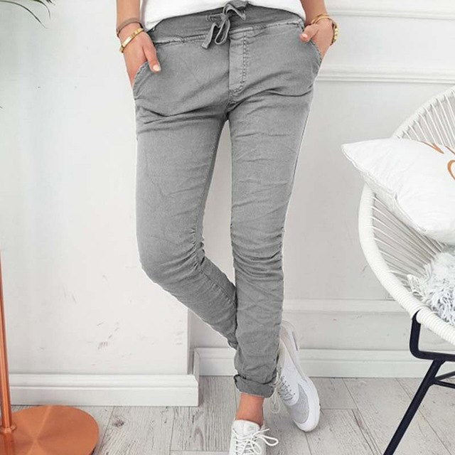 Skinny Pant Women Sexy Pencil Pant Summer Female High Waist Casual Drawstring Long Trouser Stretch Ripped Pants-geekbuyig