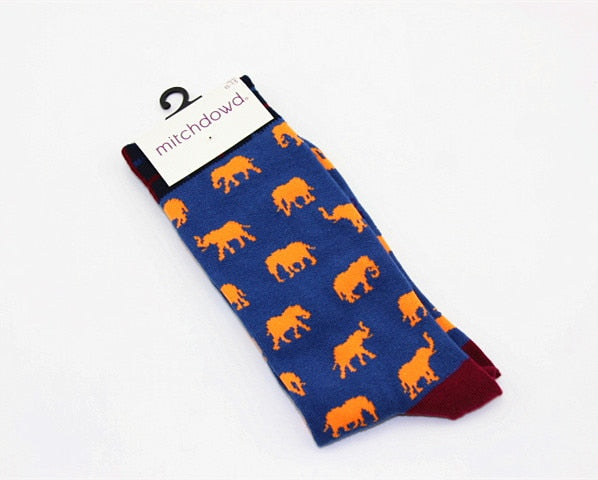 Animal botanical personality patterned socks crocodile penguin Casual fashion Funny men's Unisex Spring Summer sock New style-geekbuyig