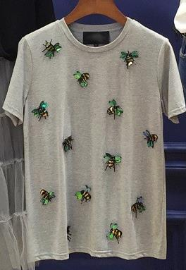 2018 new brand spring summer fashion loose sexy letter lips Print T-shirt embroidered Bee bead sequins tops leisure bee T-shirt-geekbuyig