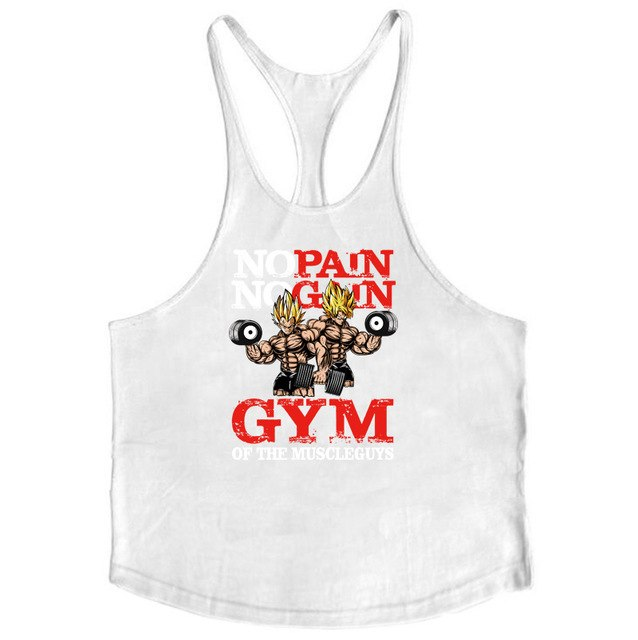 Bodybuilding Dragon Ball Tank Tops Men Anime funny summer Tops No Pain No Gain vest Fitness clothing super saiyan gyms singlets-geekbuyig
