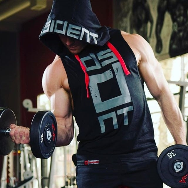 2018 Men's Patchwork printing Tank Top Sleeveless Hoodie Crossfit Bodybuilding Cotton Workout Fitness Muscle Male Tank tops-geekbuyig