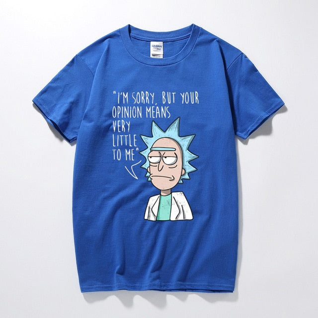 ricka and morty tshirt Opinion Means Nothing T-Shirt rick y morty funny t shirts clothing camisetas hombre short sleeve t-shirt-geekbuyig