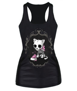 knitting Drop Shipping summer new 2016 women t-shirt RIBS 3D Vest tops Skull bone Camisole Sexy Tank top Despicable Me-geekbuyig