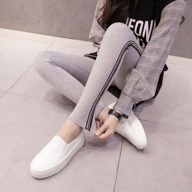 High Quality Cotton Leggings Side stripes Women Casual Legging Pant Plus Size 5XL High Waist Fitness Leggings Plump Female-geekbuyig
