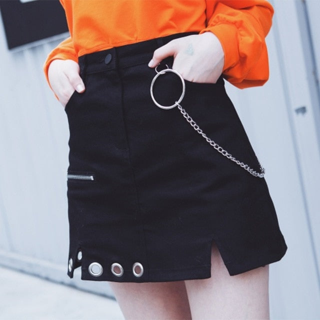 Harajuku Skirt Irregular Design Retro Ring Chain Decorative High Waist Holloe Out Women Mini Skirts-geekbuyig
