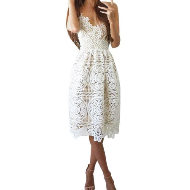 Sexy Party Dress Women Summer Deep V Neck Backless Lace Dresses Fashion Sleeveless Halter Bandage Midi Dress #BF-geekbuyig