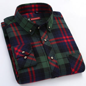 Men's Red/black Plaid Checked Brushed Flannel Shirt with Chest Pocket Casual Long Sleeve Slim-fit Button Down 100% Cotton Shirts-geekbuyig