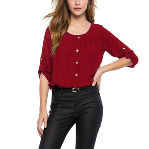 Round Neck Chiffon Women Blouse Button Decor Office Ladies Spring Tops Casual Spring Clothing-geekbuyig