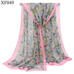 New Fashion Women owl animal Print Shawls Scarf Chiffon Soft Long thin Scarves 160*50cm lady kerchief Wraps free shipping-geekbuyig
