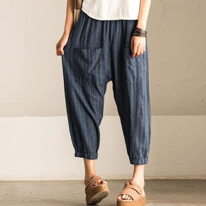 2018 SCHMICKER Women Casual Work Office High Elastic Waist Pockets Striped Baggy Harem Pants Turnip Trousers Wide Leg Pantalon-geekbuyig