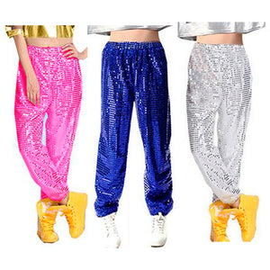 Women men club Sequin Jazz Stage Hip hop hiphop dance costume long pants trousers for women men fashion clothing Plus size 3XL-geekbuyig