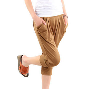 Women Summer Casual Cropped Trousers Pant Elastic Waist Ice Silk Harem Pants Large Size-geekbuyig